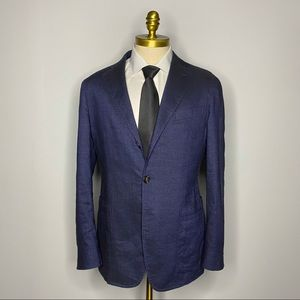Faconnable Italy Bespoke Blazer - Blue Solid Linen
